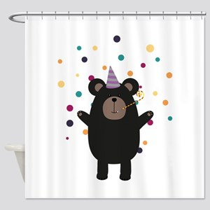 Party Black Bear Shower Curtain