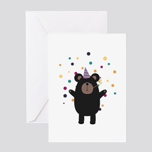 Party Black Bear Greeting Cards