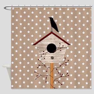 Primitive Birdhouse Shower Curtain