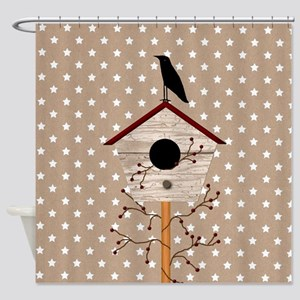 Primitive Birdhouse Shower Curtain