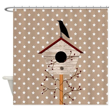 Primitive Birdhouse Shower Curtain By Mousefx