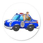 Foot Patrol Car Round Car Magnet