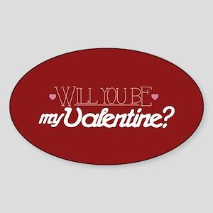 Will You Be My Valentine Sticker (Oval)