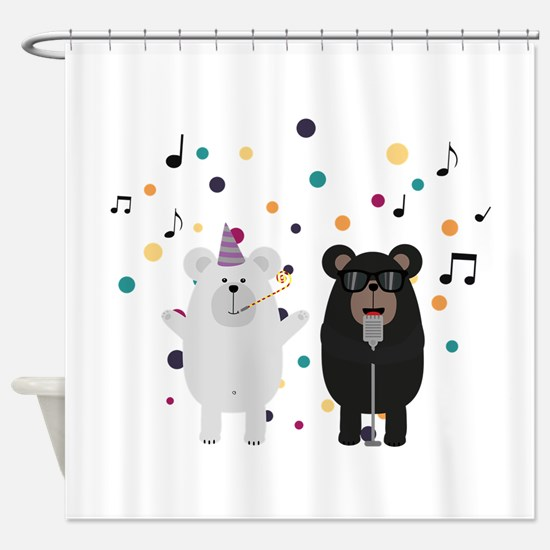 Singing Party Bears Shower Curtain