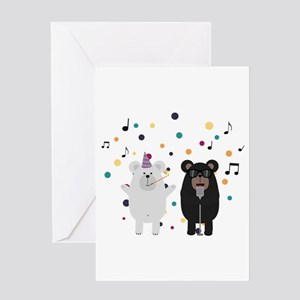 Singing Party Bears Greeting Cards