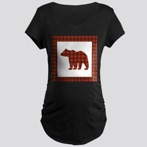 Rustic Bear Buffalo Plaid Art Maternity T-Shirt