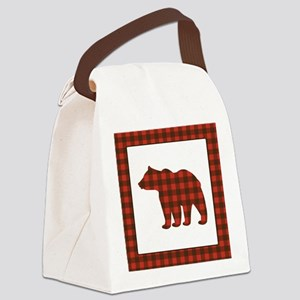 Rustic Bear Buffalo Plaid Art Canvas Lunch Bag