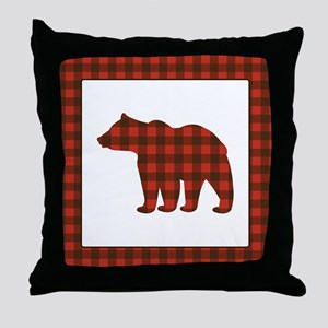 Rustic Bear Buffalo Plaid Art Throw Pillow