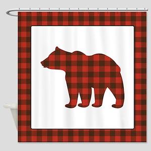 Rustic Bear Buffalo Plaid Art Shower Curtain