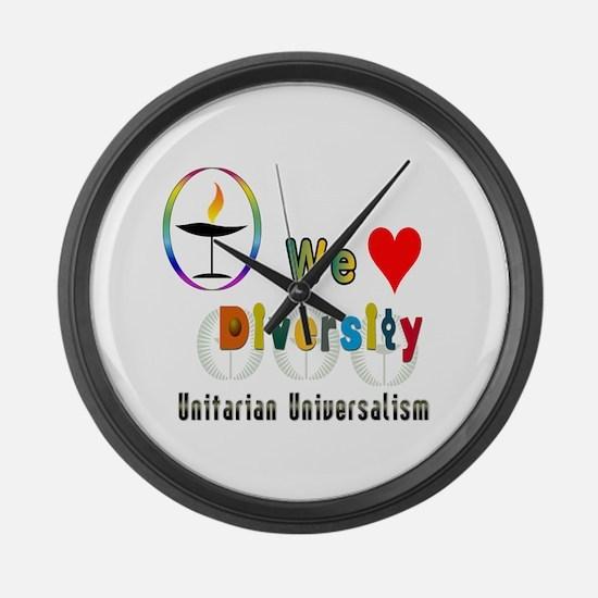 UU We Love Diversity.png Large Wall Clock