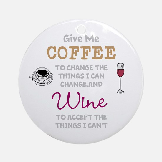 Coffee and Wine Round Ornament
