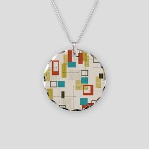 Fun Geometric, Mid Century M Necklace Circle Charm