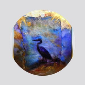 Beautiful great heron, wildlife art Round Ornament