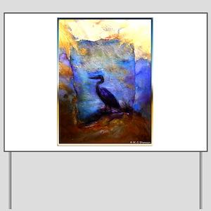 Beautiful great heron, wildlife art Yard Sign