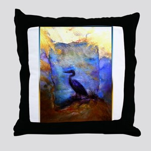 Beautiful great heron, wildlife art Throw Pillow