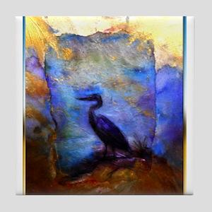 Beautiful great heron, wildlife art Tile Coaster