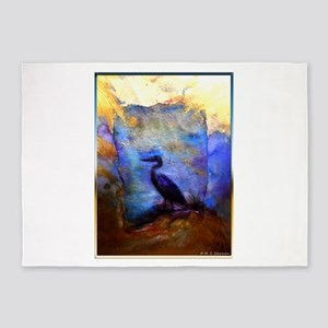 Beautiful great heron, wildlife art 5'x7'Area Rug