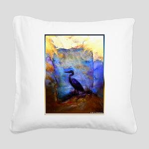 Beautiful great heron, wildlife art Square Canvas