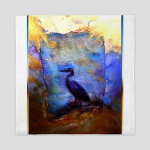 Beautiful great heron, wildlife art Queen Duvet