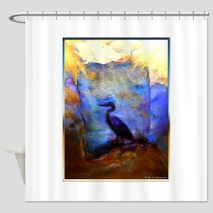 Beautiful great heron, wildlife art Shower Curtain