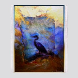 Beautiful great heron, wildlife art Throw Blanket