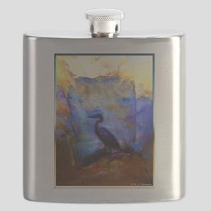 Beautiful great heron, wildlife art Flask