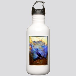 Beautiful great heron, wildlife art Water Bottle