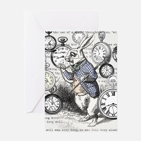 White Rabbit Watches Timepiece Alic Greeting Cards