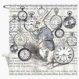 White Rabbit Watches Timepiece Alic Shower Curtain