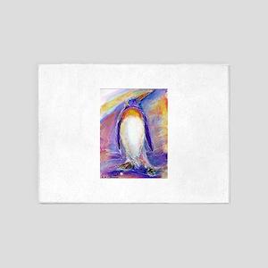 Penguin! Colorful, fun, nature art! 5'x7'Area Rug