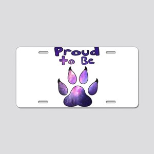 Proud to be Furry Galaxy Aluminum License Plate