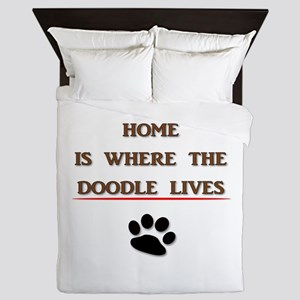Home is Where the Doodle Lives Queen Duvet