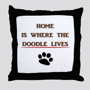Home is Where the Doodle Lives Throw Pillow