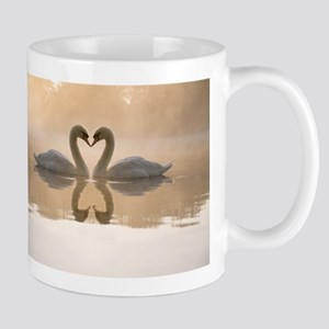 White swan in the foggy lake at the dawn. Mor Mugs