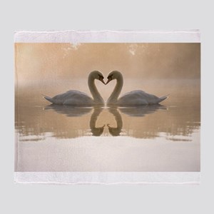 White swan in the foggy lake at the Throw Blanket