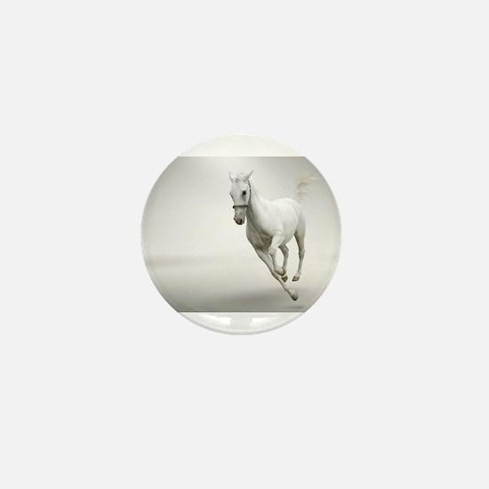 Beautiful white horse stallion Mini Button