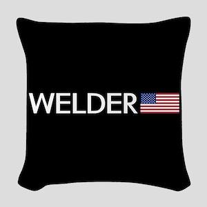 Welder: American Flag Woven Throw Pillow