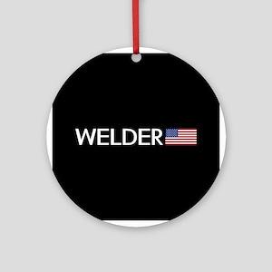 Welder: American Flag Round Ornament
