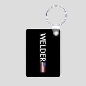 Welder: American Flag Aluminum Photo Keychain