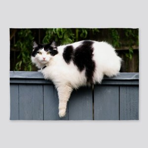 Big Fat Cat On Fence 5'x7'Area Rug