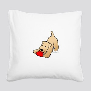 Wheaten Terrier Valentine Square Canvas Pillow