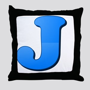 J (Colored Letter) Throw Pillow