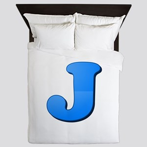 J (Colored Letter) Queen Duvet