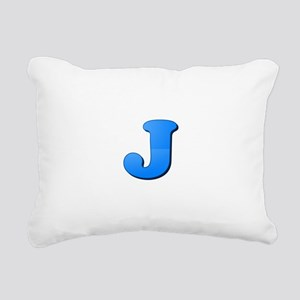 J (Colored Letter) Rectangular Canvas Pillow