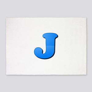 J (Colored Letter) 5'x7'Area Rug