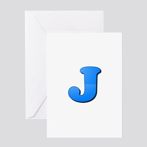 J (Colored Letter) Greeting Cards