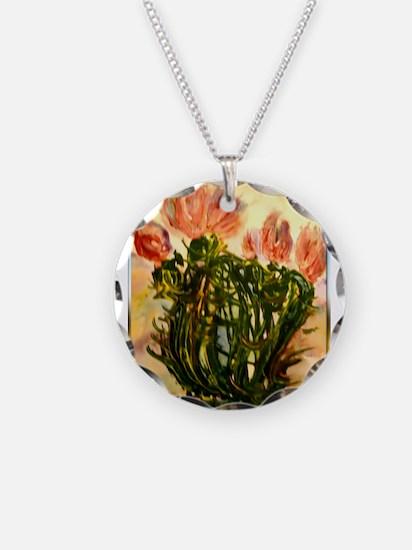 flowering cactus, southwest art Necklace