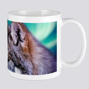 native dream catcher wolf northern light Mugs