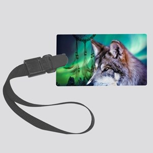 native dream catcher wolf northe Large Luggage Tag