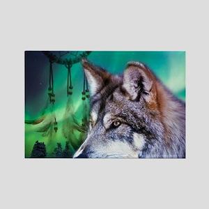 native dream catcher wolf northern light Magnets